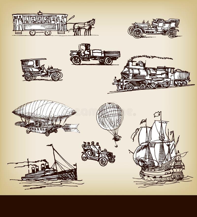 Transporte de la vendimia del vector stock de ilustración
