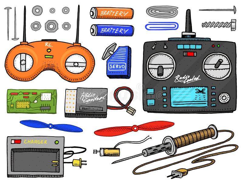 Transporte de RC e instrumento, modelos de controle remoto elementos do projeto dos brinquedos para emblemas barco ou navio e car ilustração royalty free