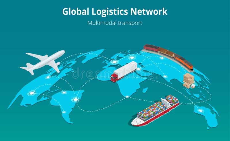 Transporte de trilho de transporte por caminhão da carga aérea isométrica lisa global da ilustração do vetor 3d do conceito da si