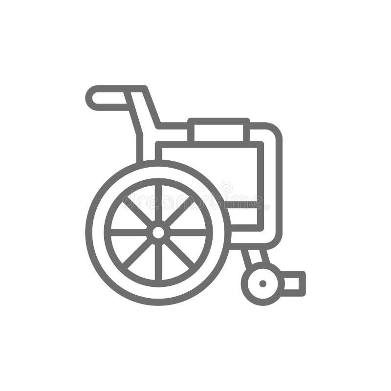 Transporte deficiente, linha ícone da cadeira de rodas ilustração stock