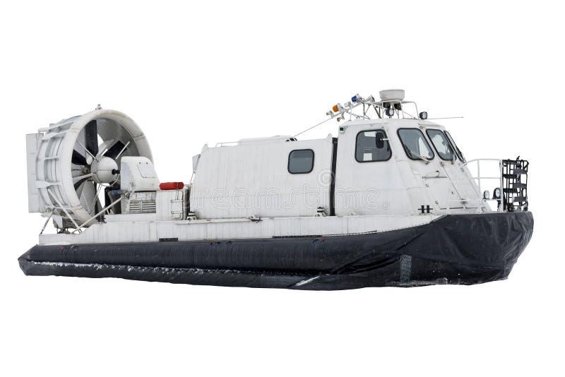 Transporte del aerodeslizador del barco en el fondo blanco aislado foto de archivo