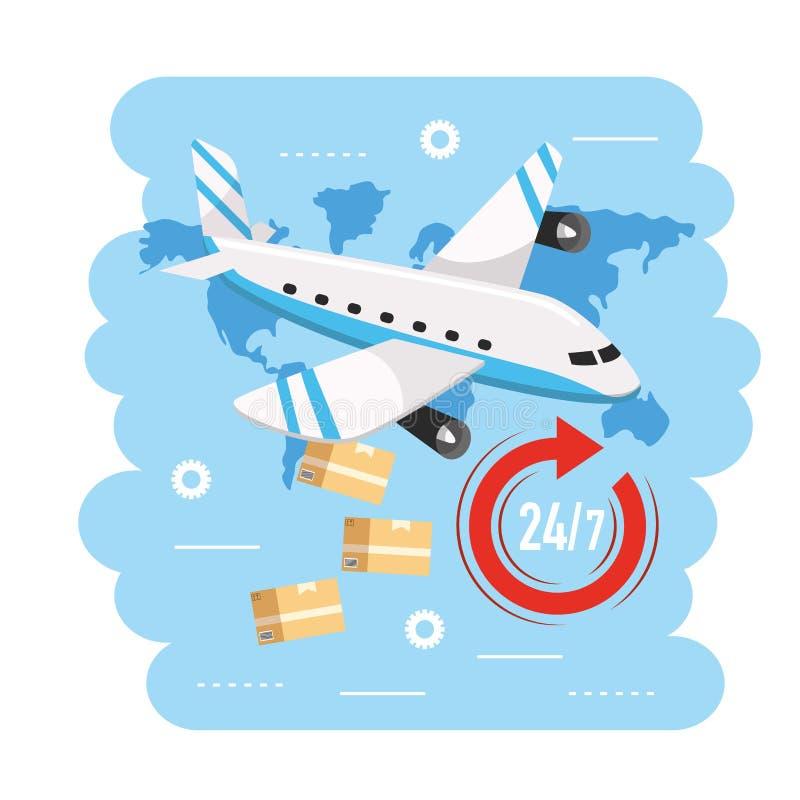 Transporte del aeroplano con las cajas al servicio de entrega ilustración del vector