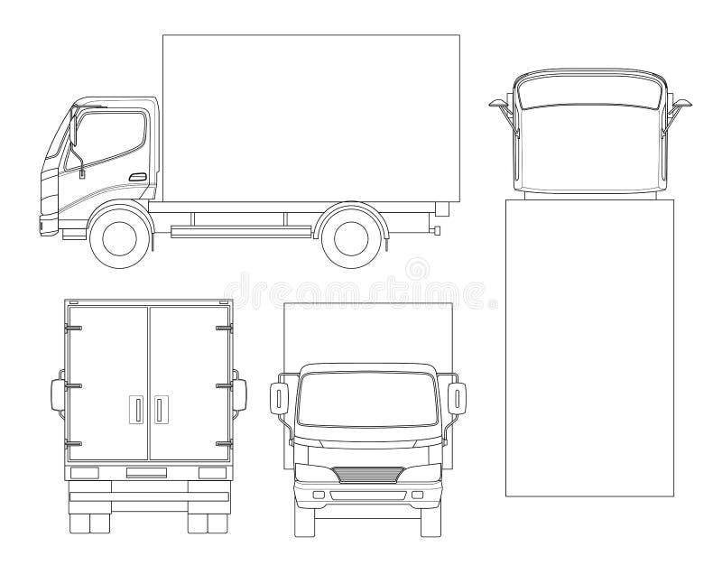 Transporte del camión del cargo en esquema Entrega rápida o transporte logístico Cambio fácil del color Vector de la plantilla ai ilustración del vector