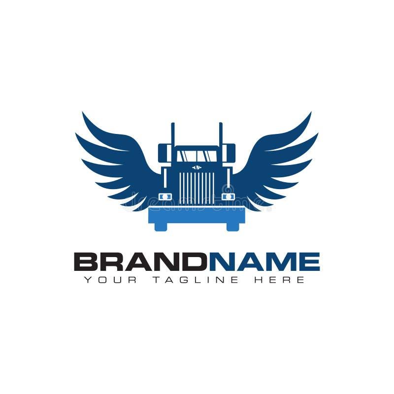 Transporte del camión con diseño del logotipo del ala stock de ilustración