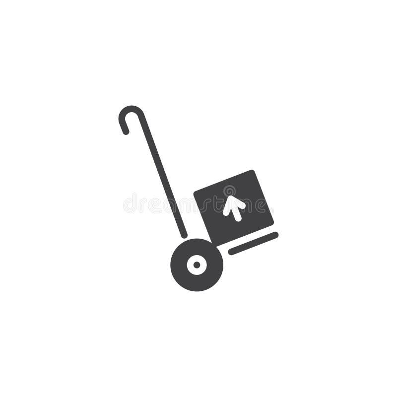 Transporte del cargo con vector del icono del carro de la mano ilustración del vector