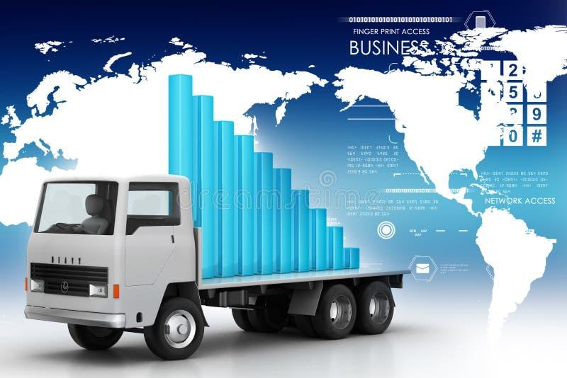 Transporte del gráfico de negocio en el camión stock de ilustración
