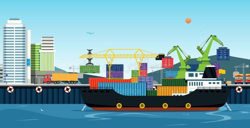 Transporte del mar logístico stock de ilustración