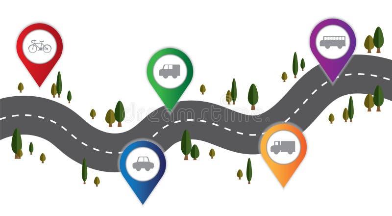 Transporte del vector en el camino y la ruta infographic libre illustration