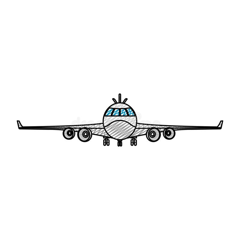 Transporte delantero de la moda del vehículo del aeroplano del garabato ilustración del vector