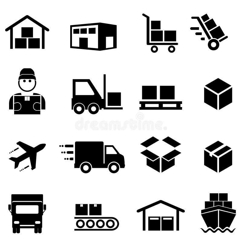 Transporte, distribuição, carga e ícones da logística ilustração royalty free