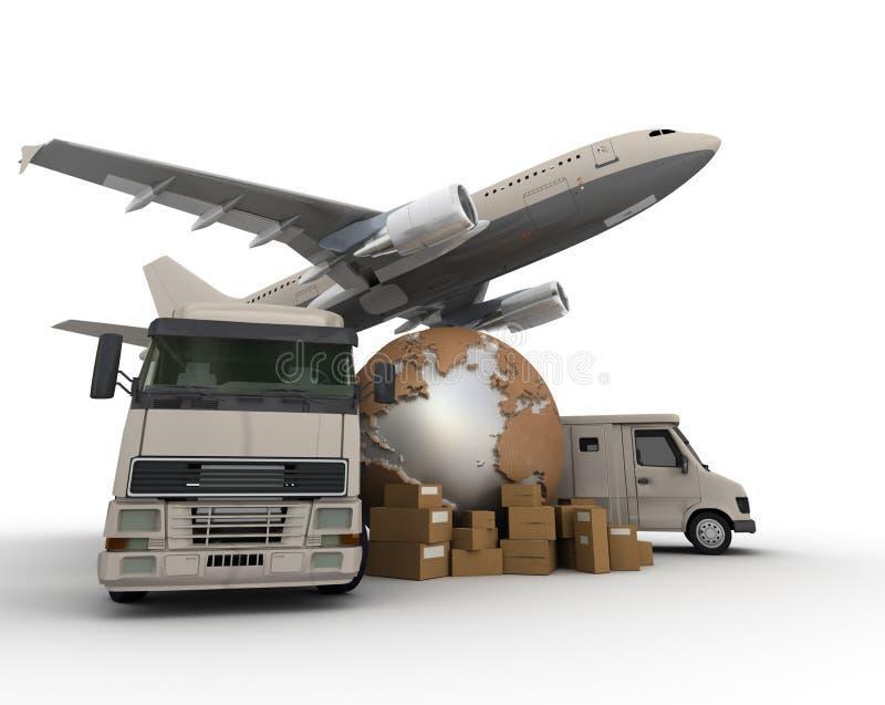 Transporte do ar e da estrada ilustração royalty free