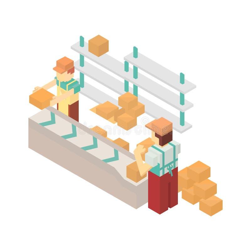 Transporte do armazém com ícone dos trabalhadores ilustração do vetor