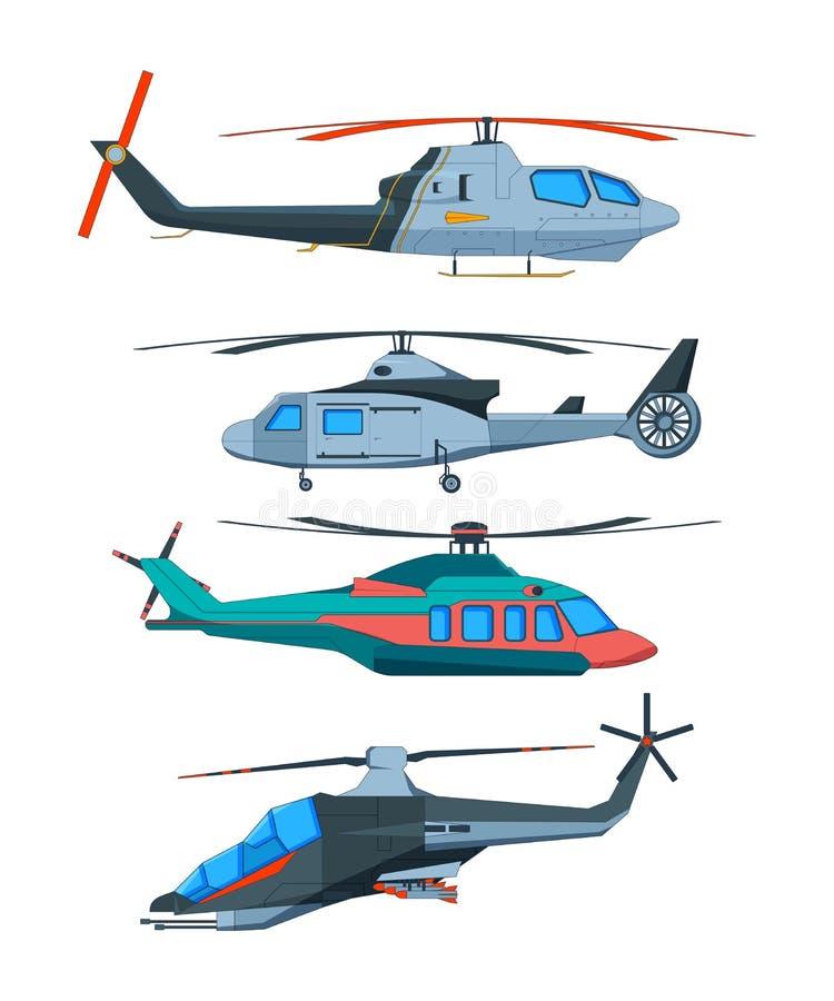 Transporte do avia dos desenhos animados Vários helicópteros isolados no branco ilustração do vetor