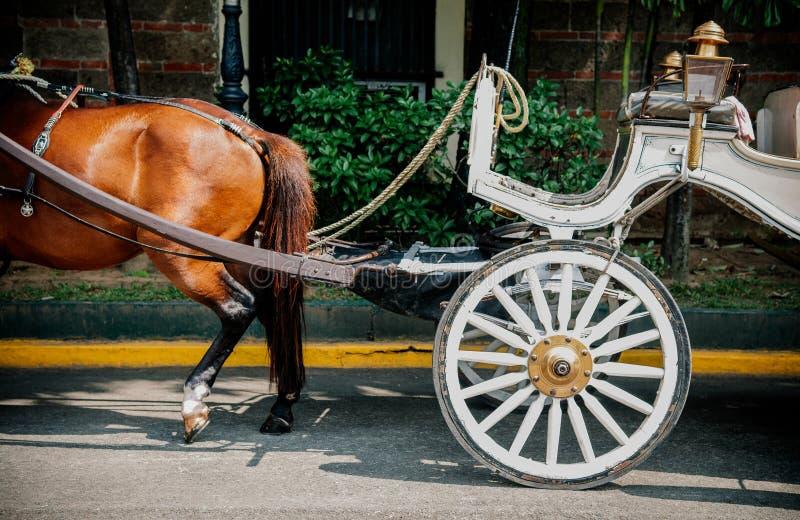 Transporte do cavalo no forte Santiago Manila, Filipinas imagem de stock