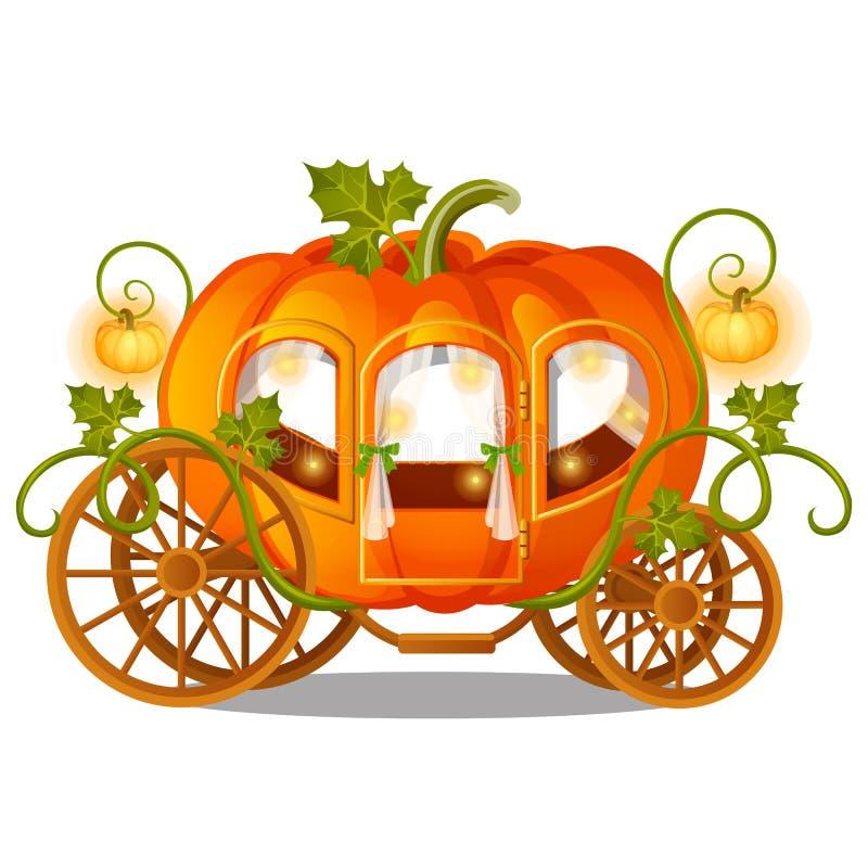 Transporte do cavalo do vintage de abóbora com o ornamento florido isolado no fundo branco Esboço para um cartaz ou um cartão par ilustração do vetor