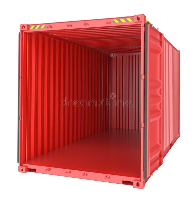 Transporte do frete, recipiente de carga vazio aberto ilustração royalty free