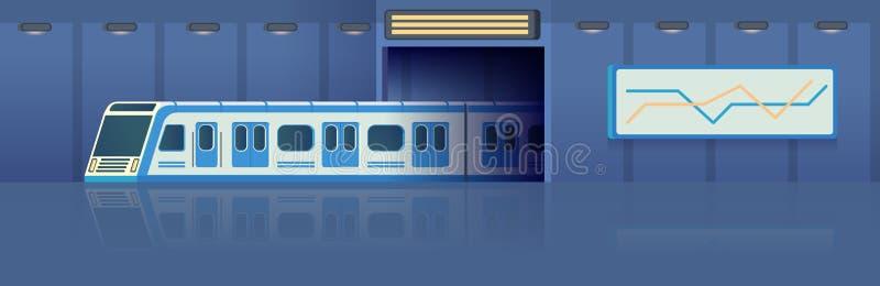 Transporte do metro ou do metro da estrada de ferro no túnel que move sobre a estação Trem de alta velocidade bonde moderno de Pa ilustração do vetor