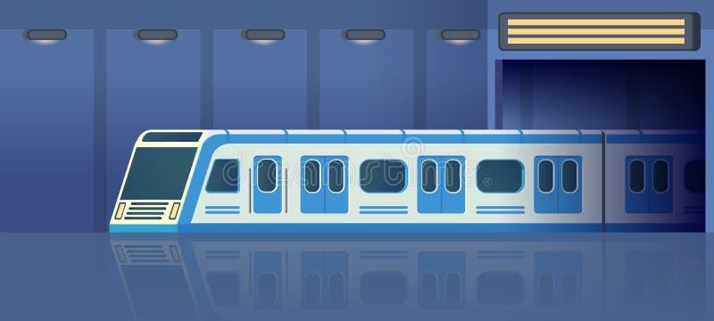 Transporte do metro ou do metro da estrada de ferro no túnel que move sobre a estação Trem de alta velocidade bonde moderno de Pa ilustração stock