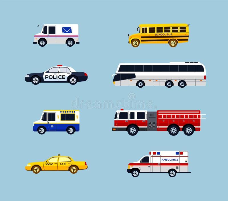 Transporte do veículo - ícones lisos do projeto do vetor ajustados ilustração do vetor