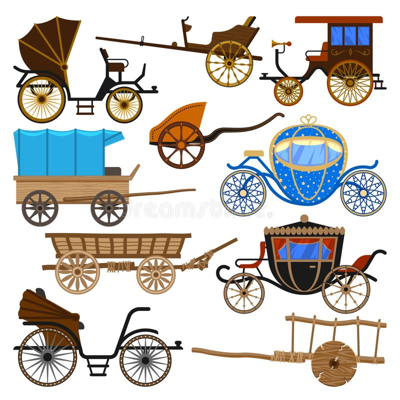 Transporte do vintage do vetor do transporte com rodas velhas e grupo antigo da ilustração do transporte de treinador e de biga r ilustração royalty free