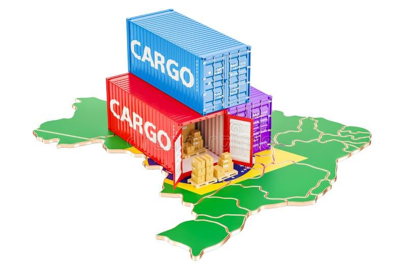 Transporte e entrega de carga do conceito de Brasil, rendição 3D ilustração royalty free