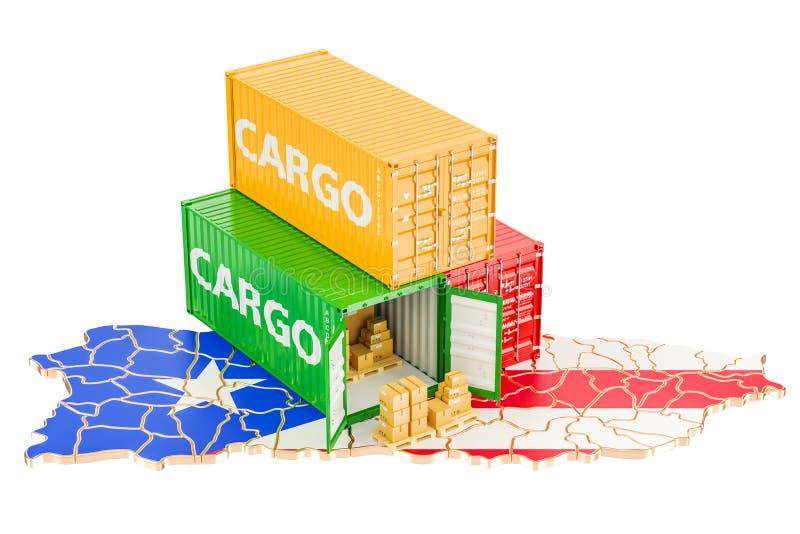 Transporte e entrega de carga do conceito de Porto Rico, renderi 3D ilustração do vetor