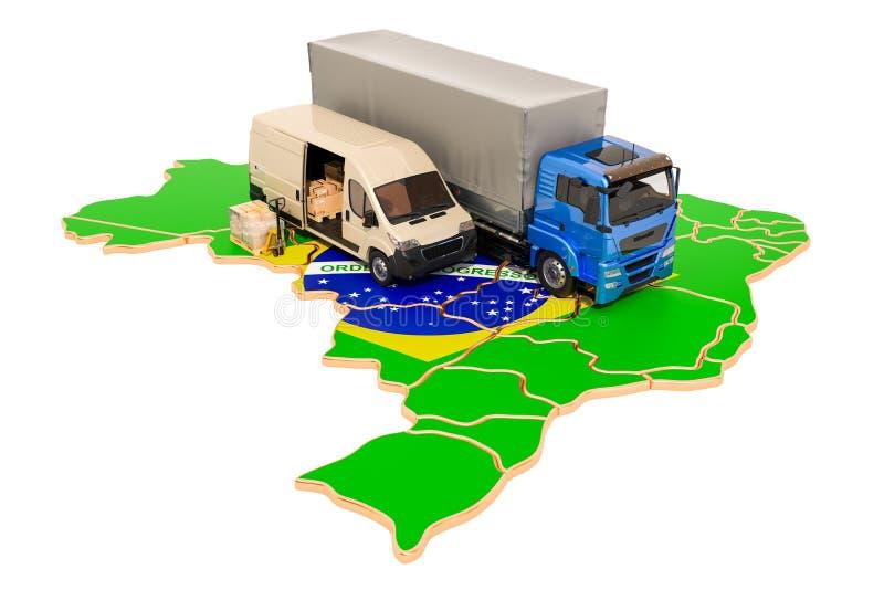 Transporte e entrega no conceito de Brasil, rendição 3D ilustração stock