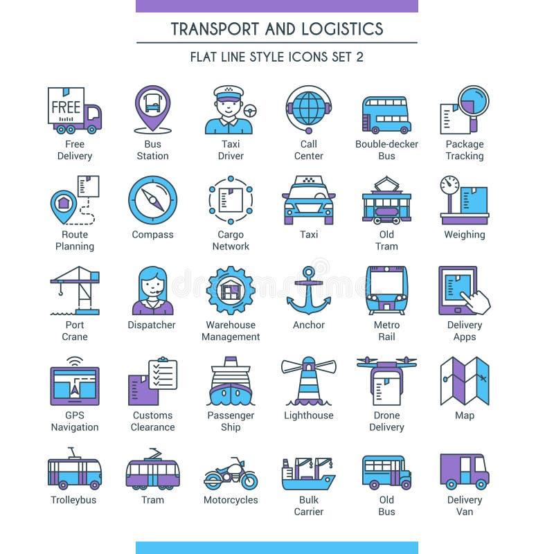 Transporte e iconos logísticos 02 stock de ilustración