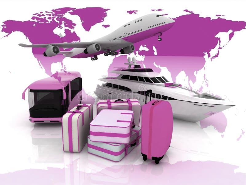 Transporte e malas de viagem ilustração do vetor