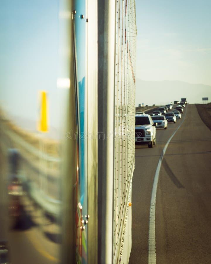 Transporte e motorista abstratos POV do conceito do tráfego foto de stock royalty free
