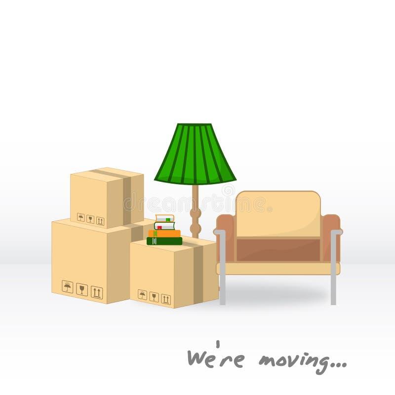 Transporte e remoção home Nós ` com referência a mover-se Caixas, poltrona, lâmpada de assoalho, livros em antecipação a mover-se ilustração stock