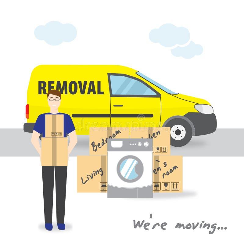Transporte e remoção home Nós ` com referência a mover-se Um homem novo está guardando caixas O caminhão, as caixas e a máquina a ilustração do vetor