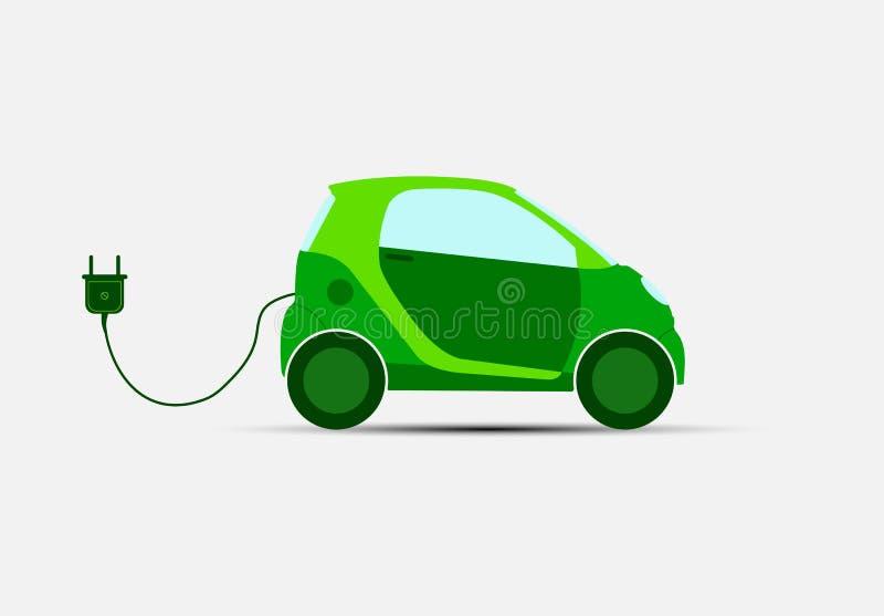 Transporte ecológico Carro verde elétrico para carregar ilustração stock