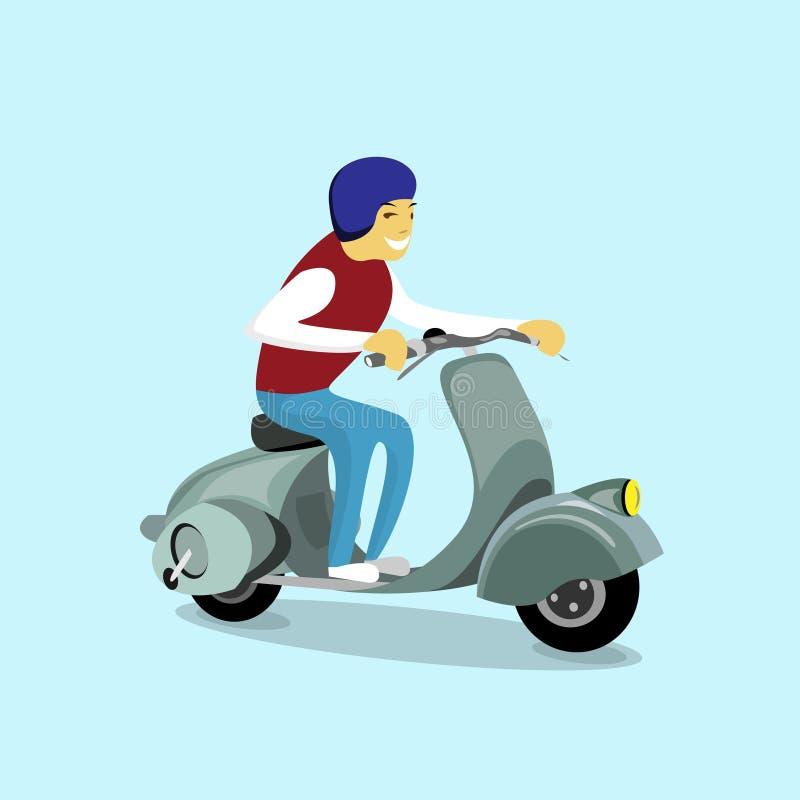 Transporte eléctrico retro de la vespa eléctrica de la moto del paseo del hombre stock de ilustración