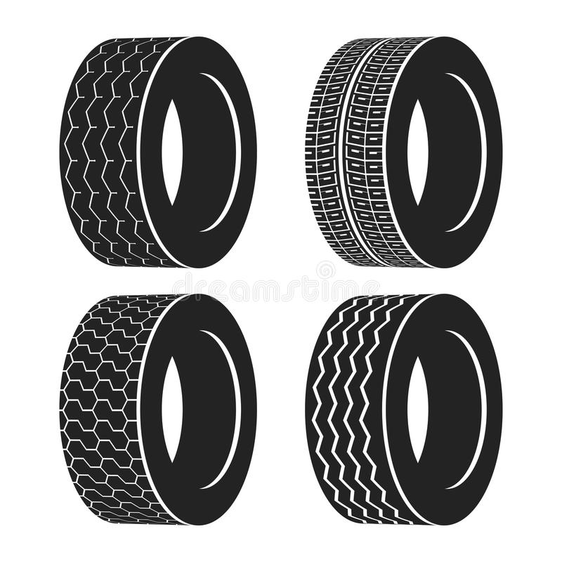 Transporte el neumático de goma para la rueda, el camión o el neumático auto ilustración del vector