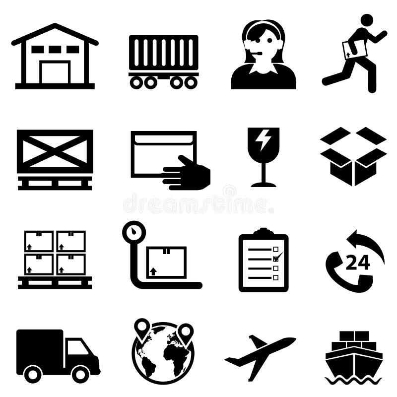 Transporte, entrega, distribuição e grupo do ícone da Web do armazém ilustração stock