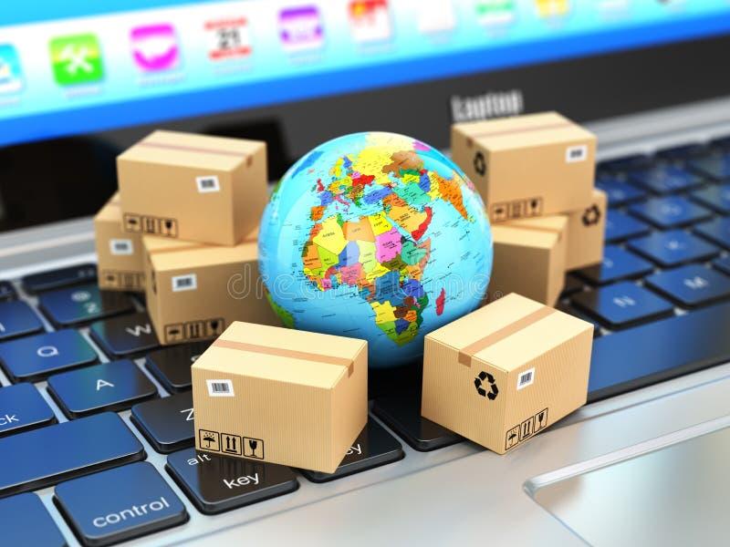 Transporte, entrega e conceito logístico Caixa da terra e de cartão ilustração stock