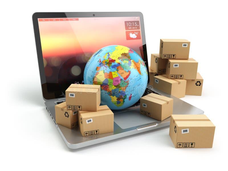 Transporte, entrega e conceito logístico Caixa da terra e de cartão ilustração do vetor
