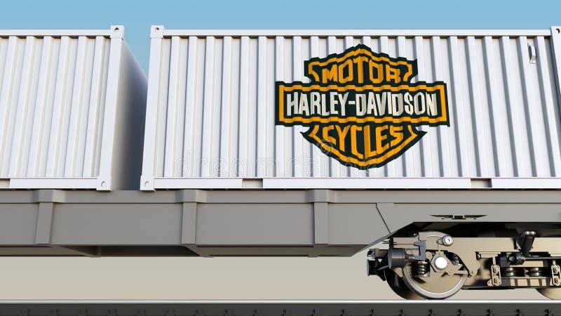 Transporte ferroviario de envases con Harley-Davidson, inc. LOGOTIPO Representación editorial 3D libre illustration