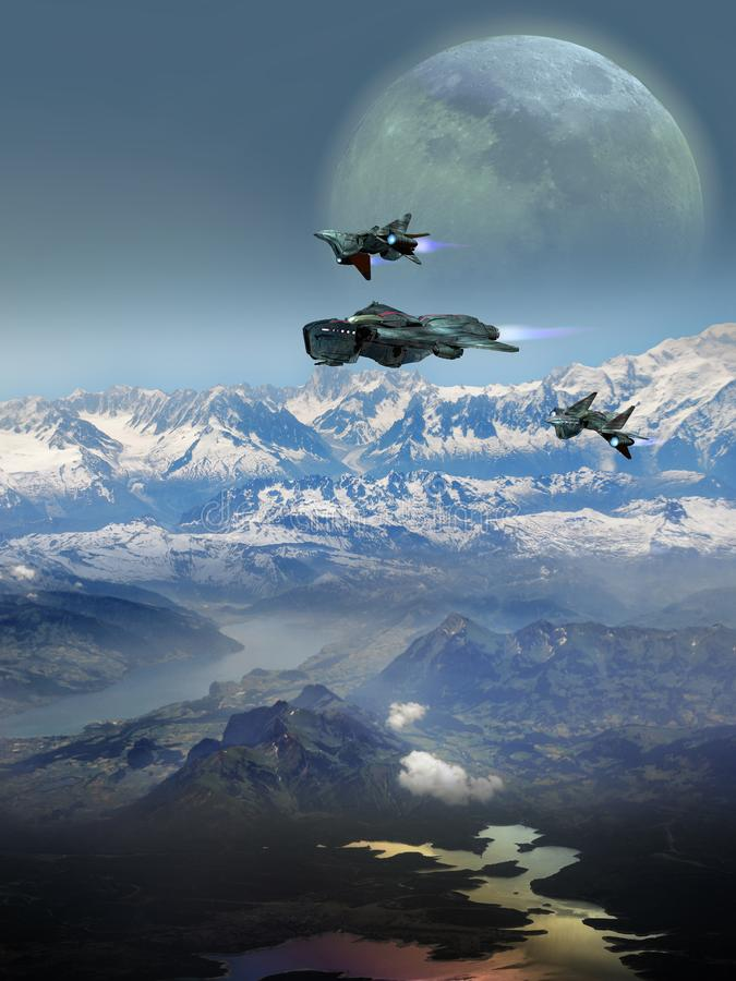 Transporte futurista sobre a terra ilustração royalty free
