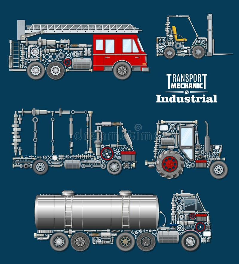 Transporte industrial com detalhes e cartaz das peças ilustração stock
