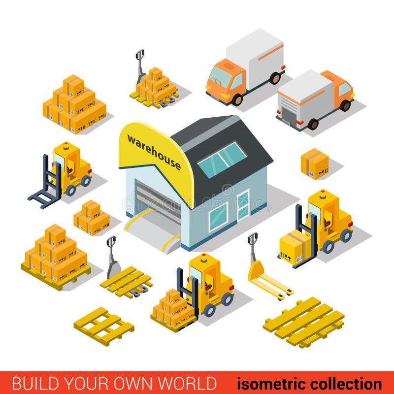 Transporte isométrico liso da entrega do armazém do vetor infographic ilustração stock