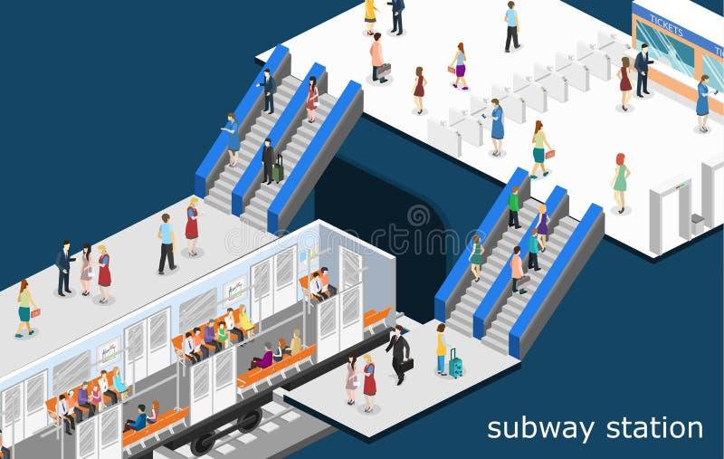 Transporte liso isométrico do metro do metro do conceito 3D Estação subterrânea ilustração do vetor