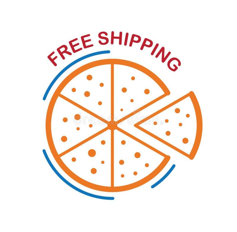 Transporte livre da pizza isolado no fundo branco imagens de stock