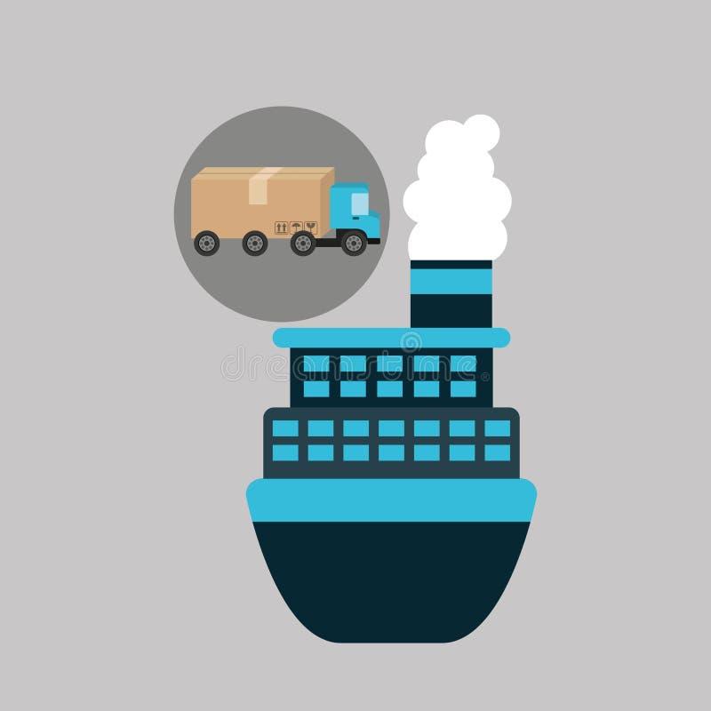 Transporte marinho da carga do conceito do caminhão de entrega ilustração stock