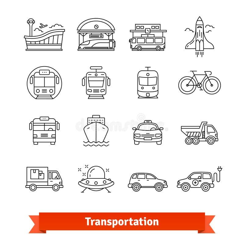 Transporte moderno e grupo urbano da infraestrutura ilustração stock