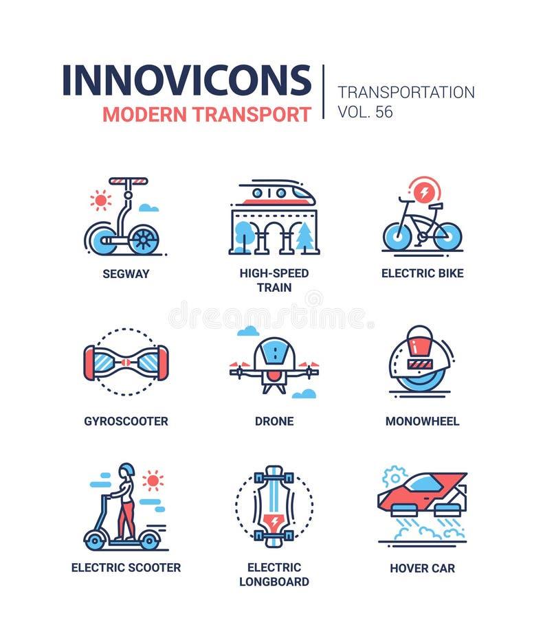 Transporte moderno - linha grupo dos ícones do estilo do projeto ilustração stock