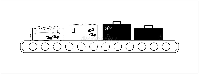 Transporte na listra do transporte de aeroporto ilustração royalty free