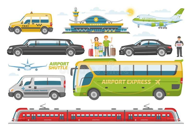 Transporte o ônibus do veículo do vetor ou trem e carro transportáveis públicos para o transporte no grupo da ilustração da cidad ilustração stock
