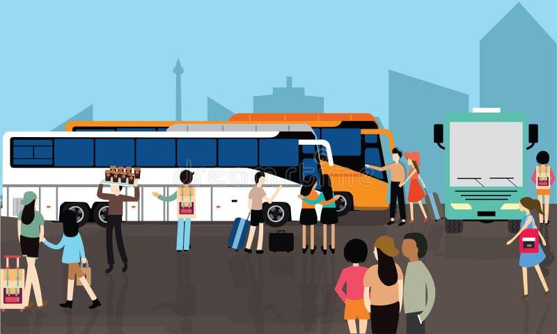 Transporte ocupado del terminal de la calle de la ciudad del transporte de la muchedumbre de la gente de la parada del término de ilustración del vector